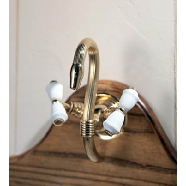 Herbeau ''Verseuse'' Deck Mounted Mixer with White or Handpainted Earthenware Handles in Avesnes, Polished Brass